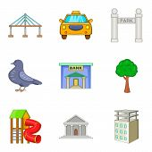 Capital Icons Set. Cartoon Set Of 9 Capital Icons For Web Isolated On White Background poster