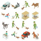 Stray Animals Icons Set. Isometric Illustration Of 16 Stray Animals Icons For Web poster