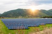 Solar Panels, Photovoltaics, Alternative Electricity Source. View Of A Solar Station At The Foothill poster