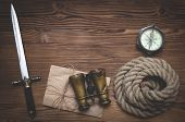 Travel Or Adventure Flat Lay Background With Copy Space. Adventurer Table. Binoculars, Old Parchment poster