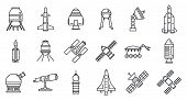 Planet Space Research Technology Icons Set. Outline Set Of Planet Space Research Technology Vector I poster