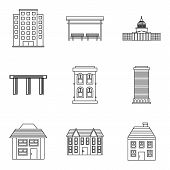 Private Hotel Icons Set. Outline Set Of 9 Private Hotel Icons For Web Isolated On White Background poster