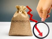 Bag With The Word Profitability And A Down Arrow With A Businessman. Low Economic Efficiency And Pro poster