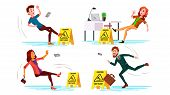 Slippery Concept Vector. Wet Slippery Floor. Slip People And Fall On. Illustration poster