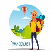Wanderlust Vector. Adventure Wanderlust Concept. Travel Design. Wild Nature. Illustration poster
