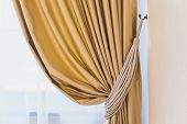 Holder For Room Curtains. Fragment Photo Curtain, Interior Detail, Curtain Detail Close Up. poster