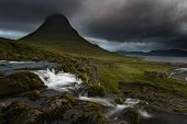 Kirkjufell Volcano The Coast Of Snaefellsnes Peninsula. Picturesque And Gorgeous Scene. Location Kir poster