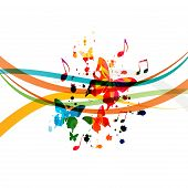 Music Background With Colorful Music Notes And Butterflies Vector Illustration Design. Artistic Musi poster