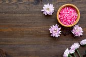 Pink Spa Salt For Aroma Therapy With Flower Fragrance On Wooden Background Top View Copyspace poster