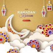 Ramadan Kareem Banner With Moon, Clouds And 3d Paper Cut Islamic Stars On Gold Background. Vector Il poster