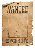 Wanted wild west poster on white background poster