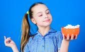 Girl Smiling Face Hold Bowl Sweets Marshmallows In Hand Blue Background. Kid Girl With Long Hair Lik poster