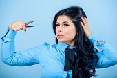 Beauty Shop Concept. Girl Makeup Face Hold Tweezer For Eyelash Extension. Makeup False Lashes Volume poster