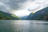 Fjord In Norway - Nature And Travel Background. Beautiful Nature Norway Natural Landscape. Trip By S poster