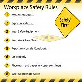 stock photo of workplace accident  - An image of a workplace safety rules chart - JPG