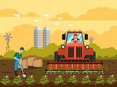 Potato Harvest In Field Flat Vector Illustration. Man Digging Ground With Shovel. Potato Plants, Spr poster