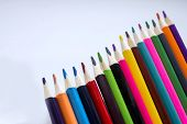 Color Pencils On A White Background, A Line Of Colored Pencils. Set Of Pencils. Childrens Creativit poster