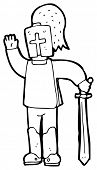 image of arthurian  - waving knight cartoon  - JPG