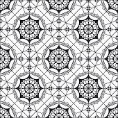 Spanish Lace Vector Monochrome Seamless Pattern. Black And White Mandala Art. Geometric Background.  poster