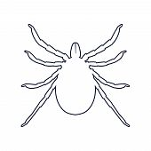 Insect Silhouette. Tick Parasite. Sketch Of Tick. Mite Outline Icon. Tick Isolated On White Backgrou poster
