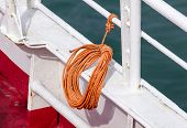 Ropes On Old Rusty Ship Closeup. Old Frayed Boat Rope As A Nautical Background. Naval Ropes On A Pie poster