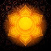 Swadhisthana Chakra Colorful Glowing Symbol With Mandala Background. Spiritual Meditation Element Ve poster