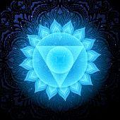 Vishuddha Chakra Colorful Glowing Symbol With Mandala Background. Spiritual Meditation Element Vecto poster