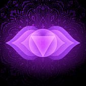 Ajna Chakra Colorful Glowing Symbol With Mandala Background. Spiritual Meditation Element Vector Ill poster
