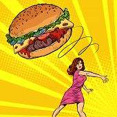 Woman Throws Burger, Fast Food. Diet And Healthy Eating. Pop Art Retro Vector Illustration Vintage K poster