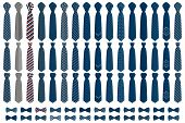 Illustration On Theme Big Colored Set Neckties Different Types, Bow Tie Various Size. Necktie Consis poster