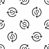 Grey Return Of Investment Icon Isolated Seamless Pattern On White Background. Money Convert Icon. Re poster