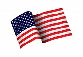 Waving Flag Of The United States Of America. Illustration Of Wavy American Flag For Independence Day poster