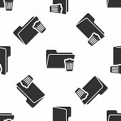 Grey Delete Folder Icon Isolated Seamless Pattern On White Background. Folder With Recycle Bin. Dele poster