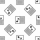 Grey Music Book With Note Icon Isolated Seamless Pattern On White Background. Music Sheet With Note  poster