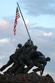 stock photo of iwo  - Front view of Iwo Jima Memorial dedicated to the U - JPG
