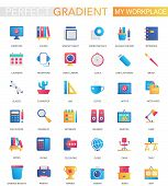 Vector Set Of Trendy Flat Gradient My Workspace Or Workspace Icons. poster