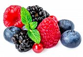 Berry Mix Isolated On A White Background. Various Fresh Berries With Mint  Leaf. Raspberry, Blueberr poster