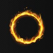 Fire Ring. Realistic Burning Flame. Fiery Circus Circle Hot Hoop Warm Fire Blazing Effect Red Flamin poster