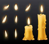 Burning Candles. Romantic Holiday Wax Burning Candles Light Close Up Warm Fire Wick Spa Christmas Di poster