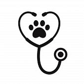 Stethoscope Silhouette With Animal Paw Print Symbol. Veterinary Medicine Logo, Isolated Vector Illus poster