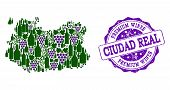 Vector Collage Of Grape Wine Map Of Ciudad Real Province And Purple Grunge Seal For Premium Wines Aw poster