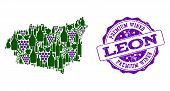 Vector Collage Of Grape Wine Map Of Leon Province And Purple Grunge Seal For Premium Wines Awards. M poster