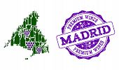 Vector Collage Of Grape Wine Map Of Madrid Province And Purple Grunge Stamp For Premium Wines Awards poster