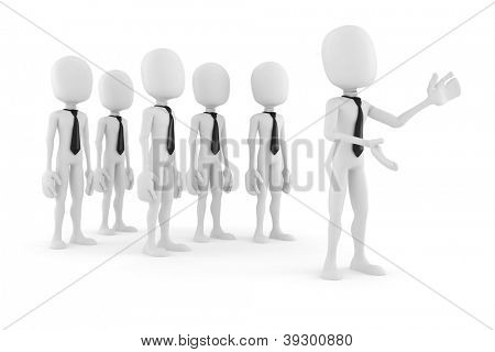 3d man leader in front of a crowd of 3d men gesturing to imaginary audience