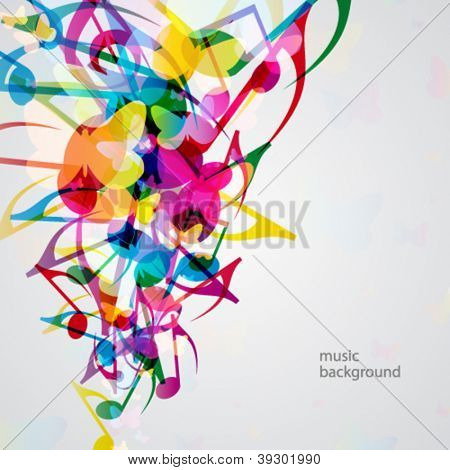 Colorful music background with bright musical design elements.