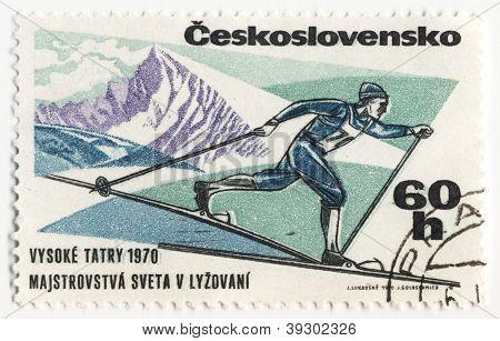 Esquiador en sello de correos