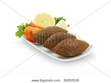 Lebanese Food of Fried Kibe Isolated on white