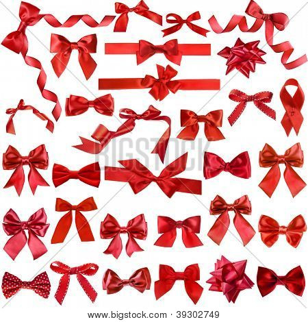 Big collection set of red gift ribbon bows isolated on white background