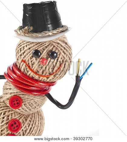 Happy Snowman made of rope, wire, tape isolated on white background