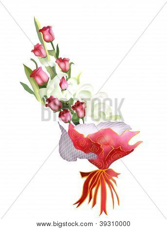 Rose And Lily Bouquet Isolated On White Background